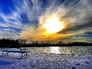 Bench, winter, Great Sunsets, lake