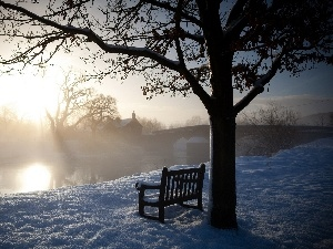 Bench, Fog, River, winter, bridge