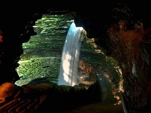cave, waterfall