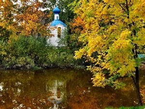 chapel, viewes, River, autumn, trees