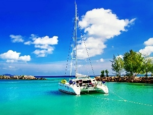 sea, clouds, Catamaran