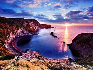 east, cliff, sea, sun, rocks