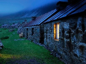 Fog, Mountains, Stone, Houses