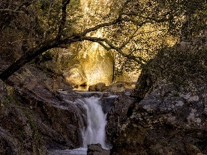 rocks, waterfall, forest, Przebijaj?ce, luminosity, autumn, sun, flash, ligh