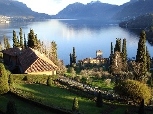 Garden, house, Mountains, lake