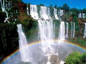 Great Rainbows, rocks, waterfall