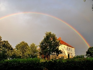 house, viewes, Great Rainbows, trees