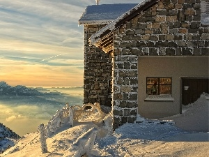 House, snow, winter, rays, Mountains