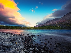 Mountains, clouds, lake, Stones