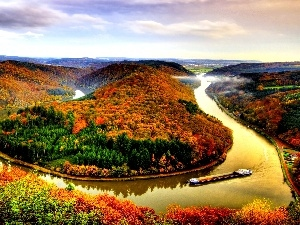 meander, River, trees, autumn, viewes