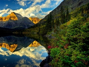 Mirror, reflection, Mountains, lake