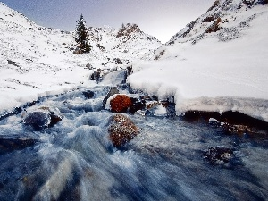 Mountains, winter, rapid, stream, Stones, Snowy