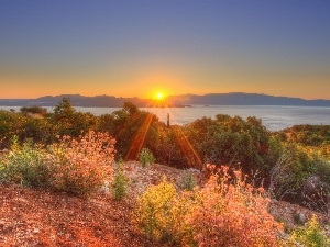 Mountains, rays of the Sun, VEGETATION, lake