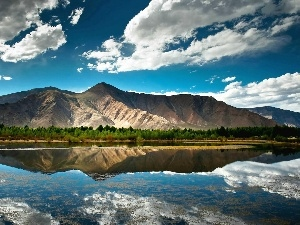 reflection, clouds, River, Mountains