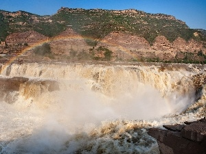 River, height, Hill, Great Rainbows, waterfall