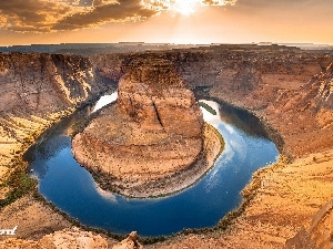 River, canyon, west, sun