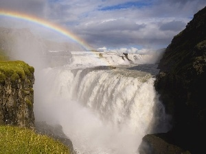 rocks, Sky, waterfall, Great Rainbows