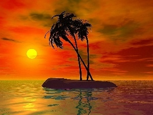 sea, sun, Island, graphics, Palms