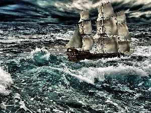 sea, Storm, sailing vessel