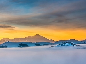 Sky, Mountains, Fog
