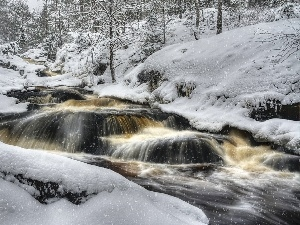 snow, Cascades, water, forest, winter, River