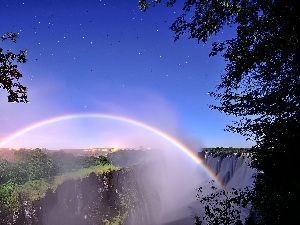 star, Great Rainbows, forest, waterfall