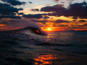 sea, west, sun, Waves