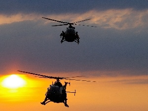 west, sun, helicopters