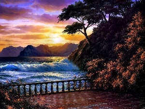 terrace, Great Sunsets, sea, Mountains