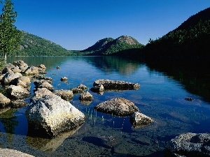 The Hills, woods, lake, Stones