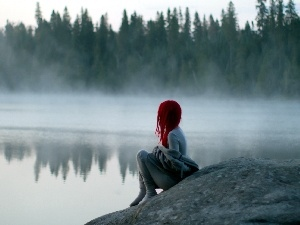trees, Fog, lake, viewes, Women