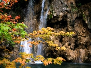 viewes, trees, waterfall, autumn, rocks