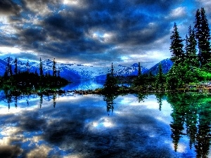 lake, Mountains, viewes, reflection, trees, clouds