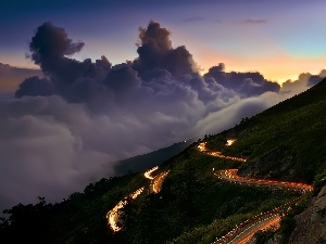 Way, winding, clouds, Mountains