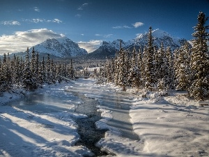 winter, River, Mountains, forest