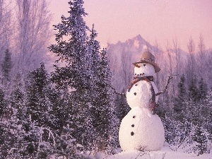 winter, viewes, Snowman, trees