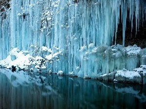 waterfall, winter, frozen