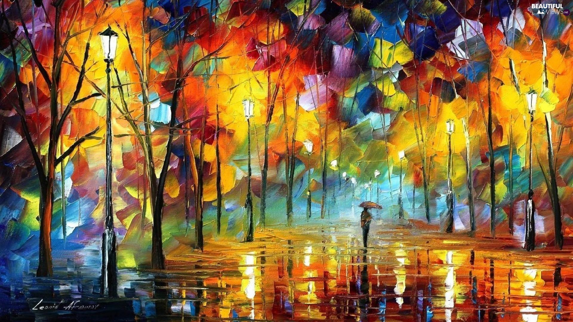 trees, viewes, alley, Umbrella, form, Art Image, Leonid Afremov, autumn, Rain