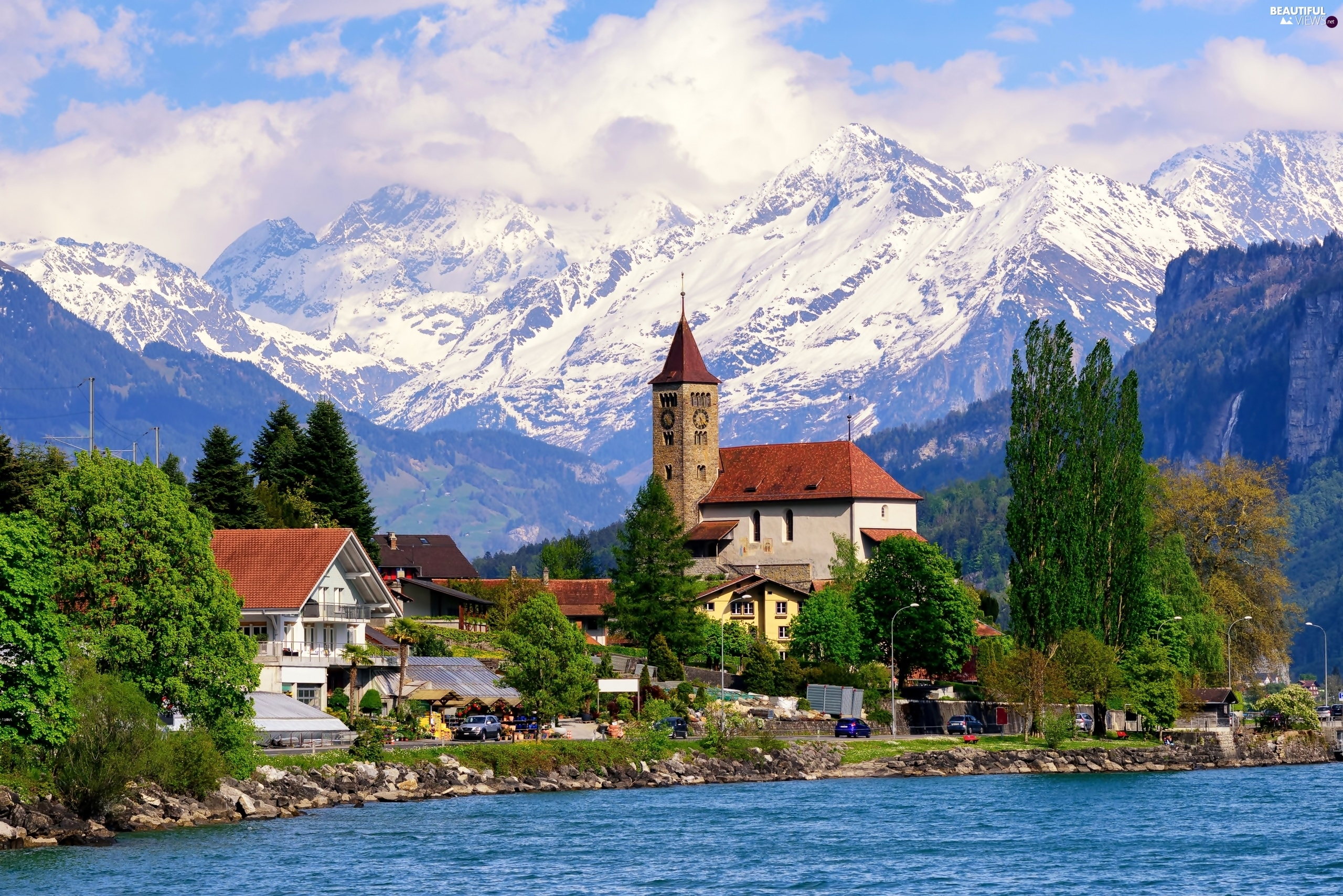 Lake Village Alps Switzerland Mountains Houses