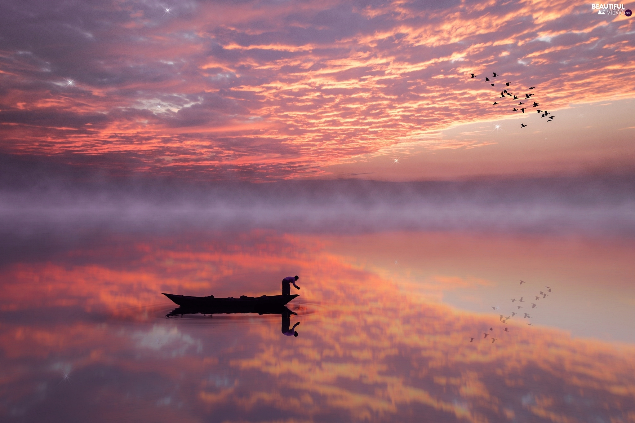 birds, Boat, reflection, lake, Fog, Great Sunsets, clouds