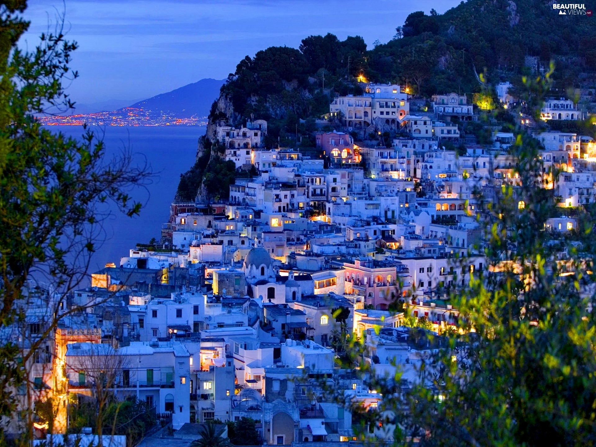 Houses, Island, Capri, Night - Beautiful views wallpapers ...