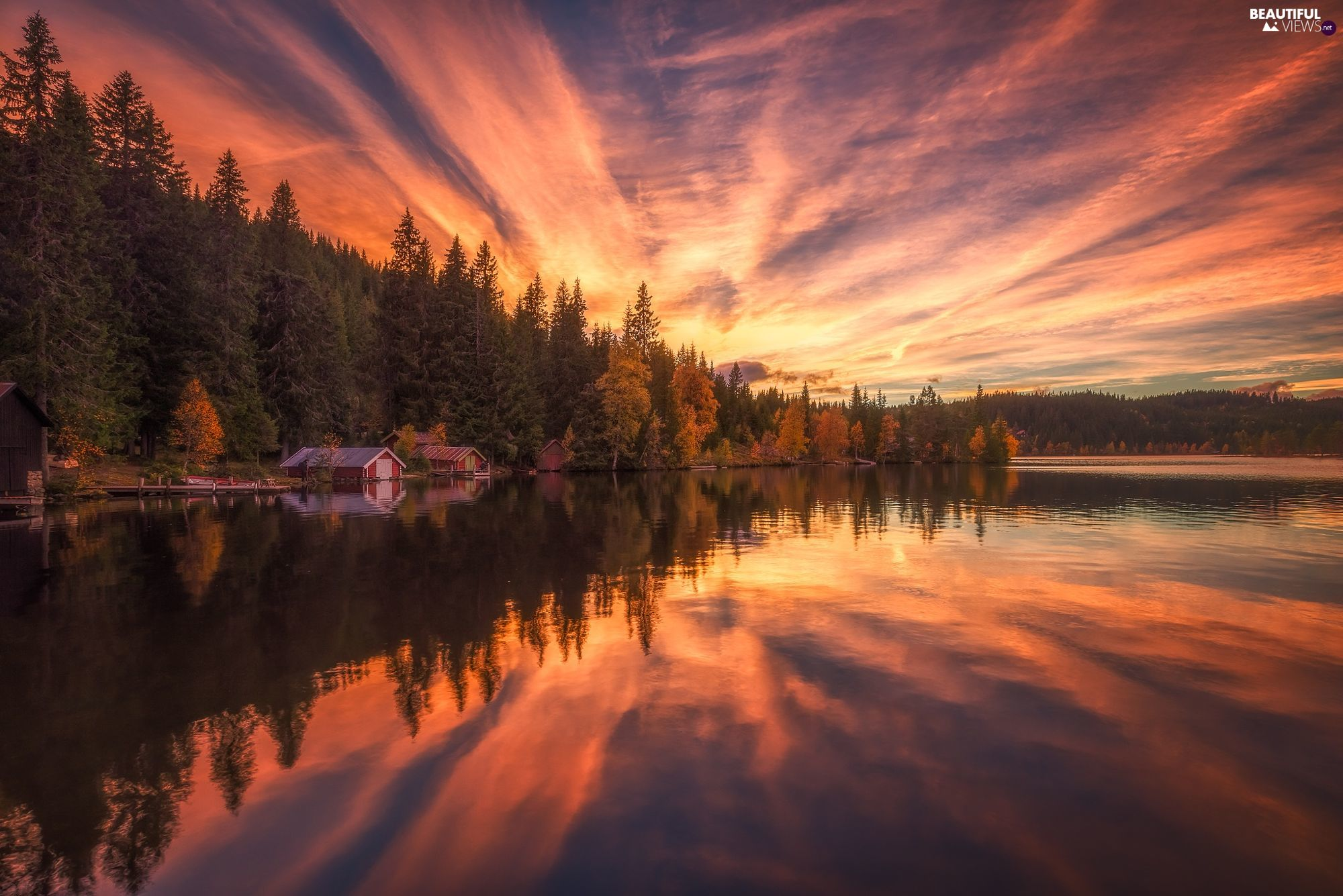 lake, forest, trees, Houses, viewes, Norway, Ringerike, reflection, clouds