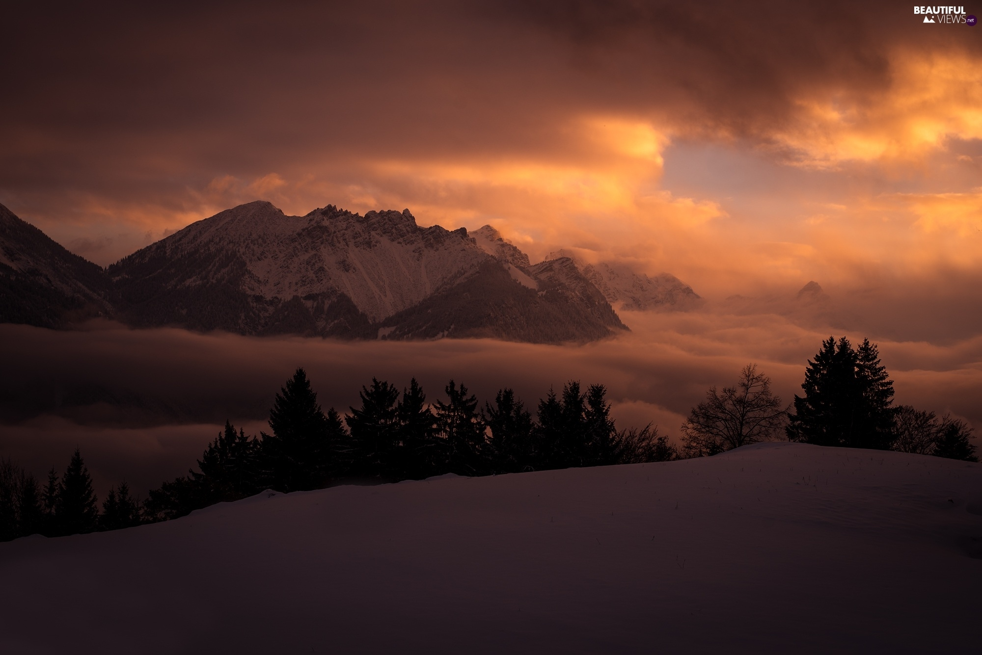 Dusk, clouds, winter, Mountains