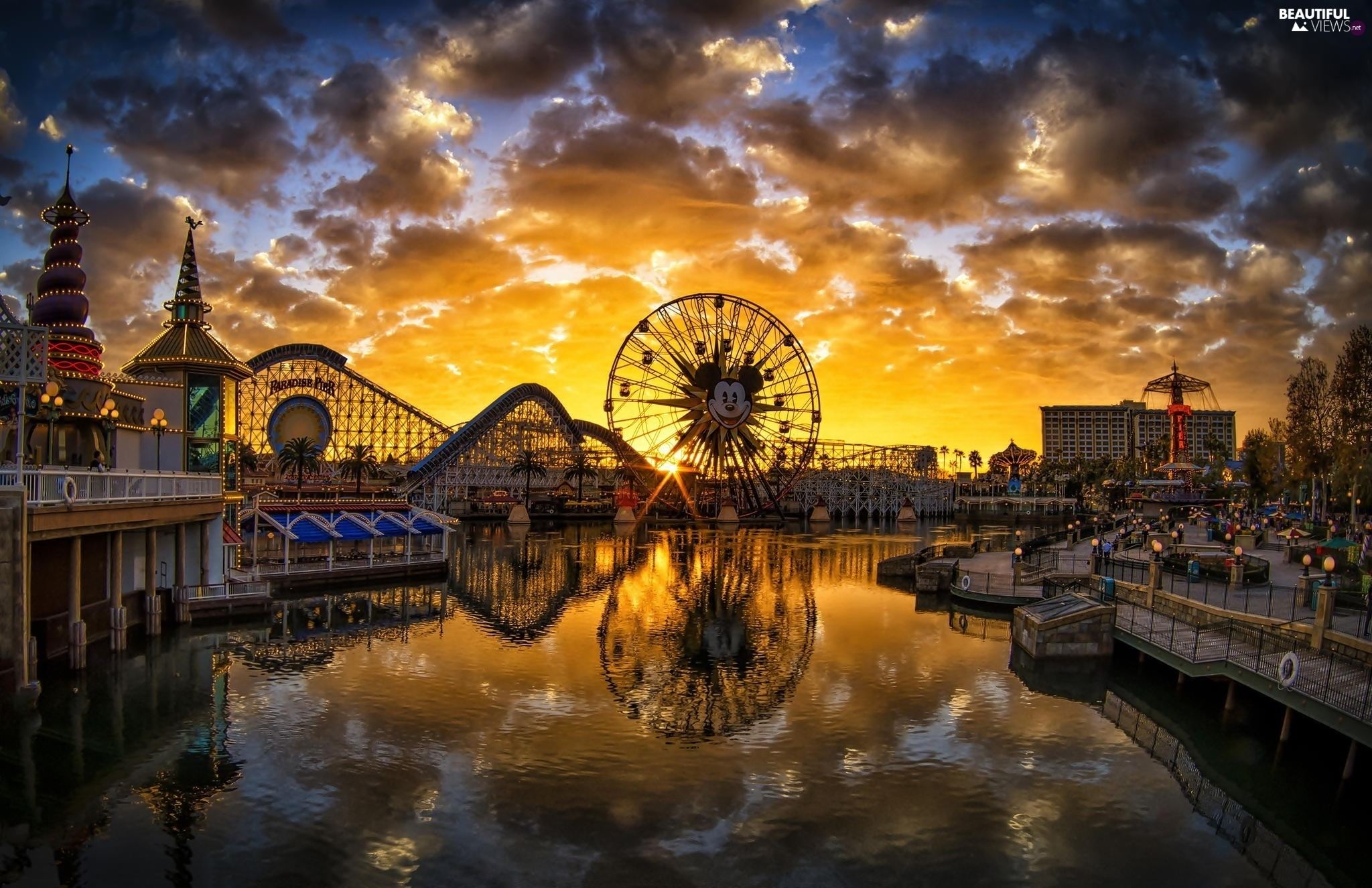 Disneyland, California, River, Anaheim, The United States, Ferris Wheel, Great Sunsets