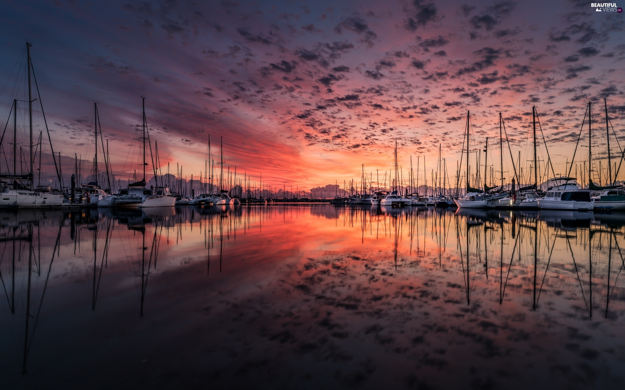 Great Sunsets, lake, Harbour, Yachts