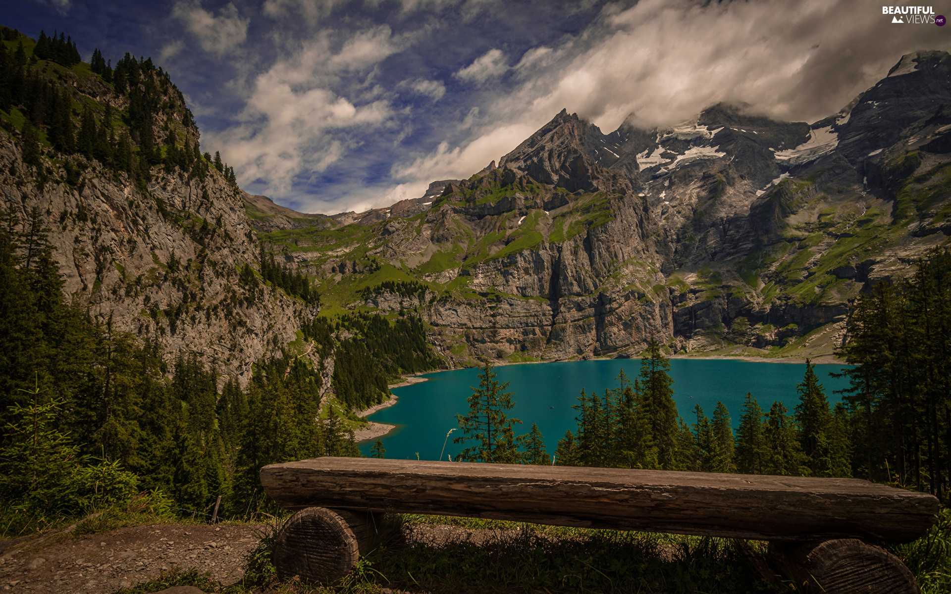 Canton of Bern, Mountains Bernese Alps, trees, Bench, Oeschinen Lake, Switzerland, viewes