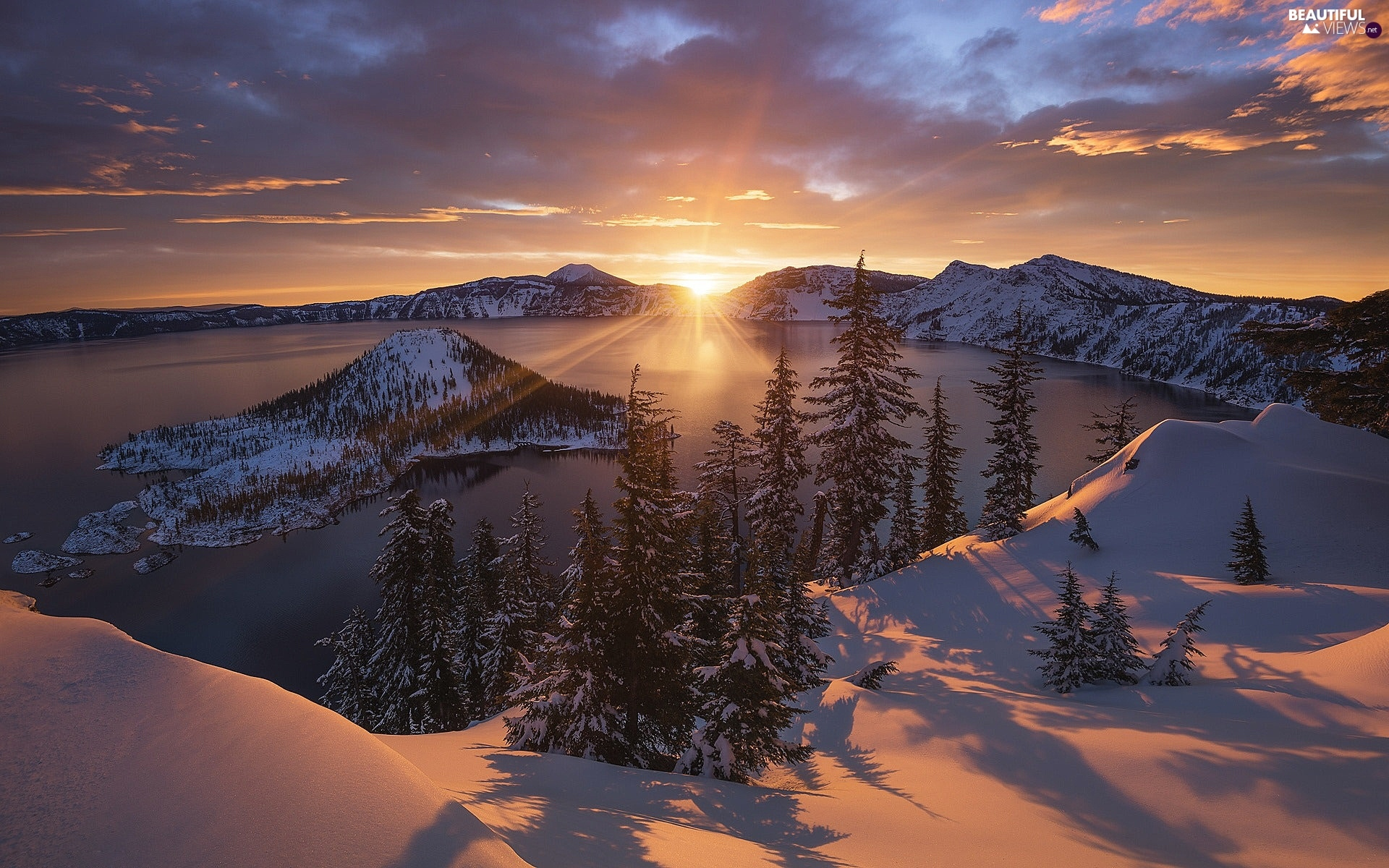 lake, winter, viewes, Great Sunsets, trees, Mountains