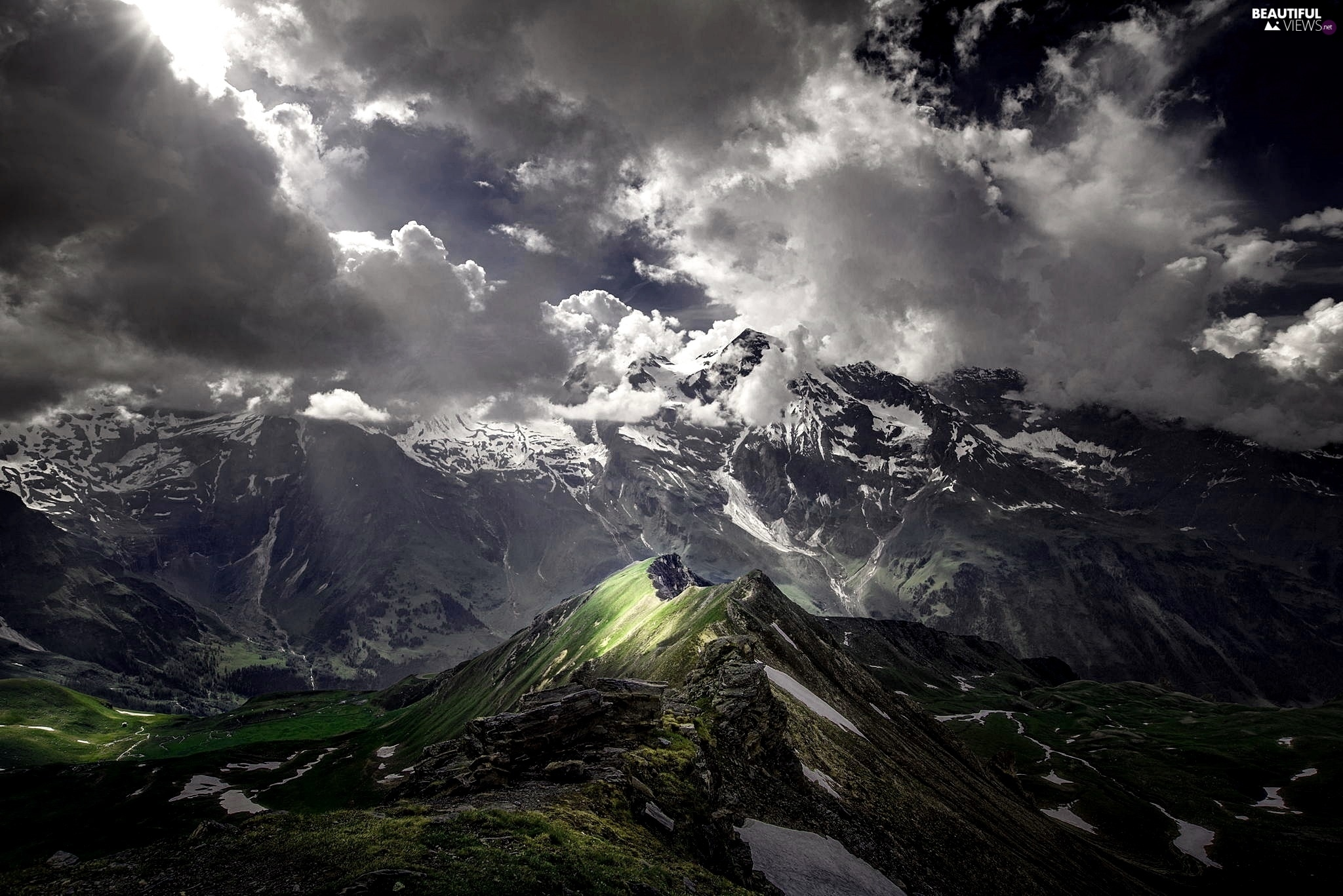 mountains sky light clouds -#main