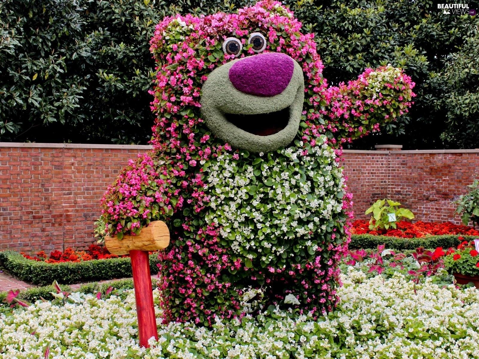 little bear, flower, garden, decoration - beautiful views