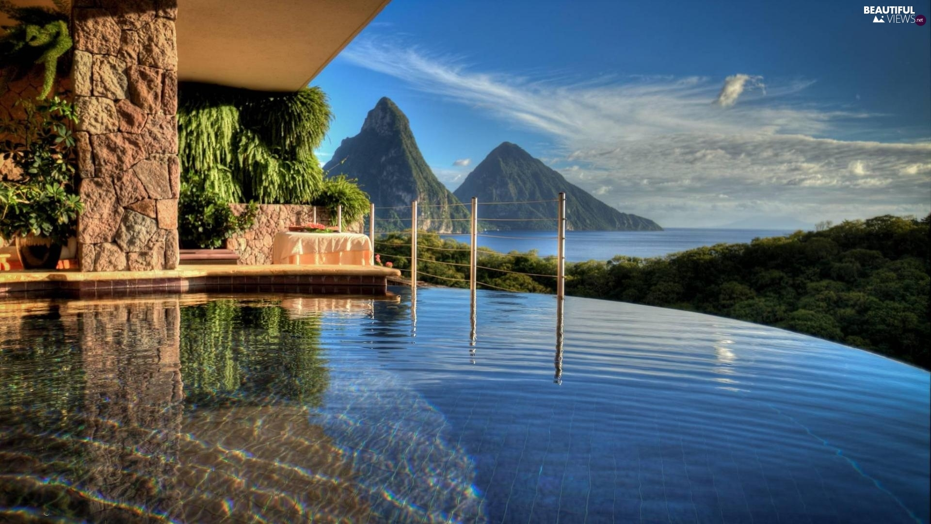 Saint Lucia Mountains Sea House Caribbean Pool